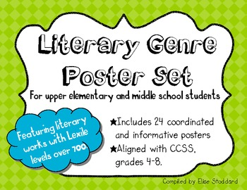 Literary Genres Poster set for Upper Elementary and Middle School Students