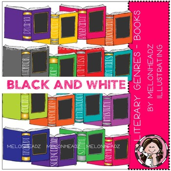 Literary Genres clip art - Books - BLACK and WHITE - by Melonheadz