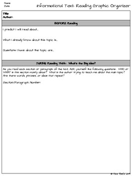 Fiction and Non-fiction Reading Graphic Organizers for Centers or Groups CCSS