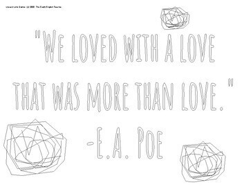 Valentines Day Literary Love Quotes Coloring pages/Mini-Posters