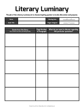 Literary Luminary: Guide Sheet for Literature Circles