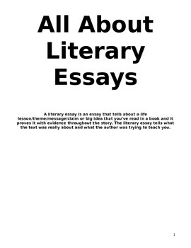 All About Writing Literary Essays