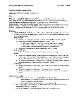 Literary Modes Analysis: A Group Project