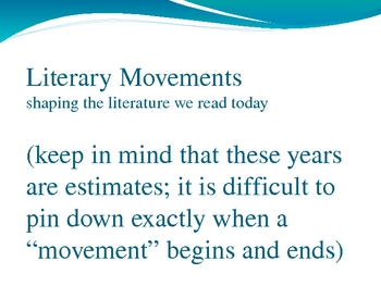 Literary Movements Power Point Presentation