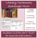 Back to School Literary Movements Scavenger Hunt: A FREE Web Quest Activity