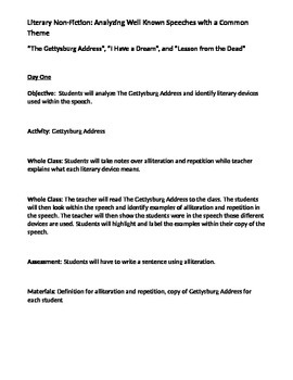 Literary Non-Fiction: Analyzing Well Known Speeches with a