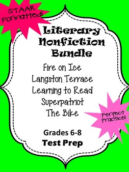 Literary Nonfiction 5 Selection STAAR formatted question BUNDLE