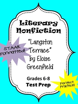 Literary Nonfiction STAAR formatted questions for Langston Terrace