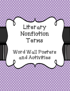 Literary Nonfiction Word Wall and Activities