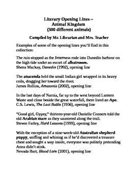 Literary Opening Lines – Animals (300 Different Animals)