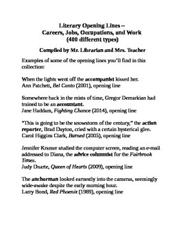 Literary Opening Lines – Careers, Jobs, Occupations & Work (400 Different Types)