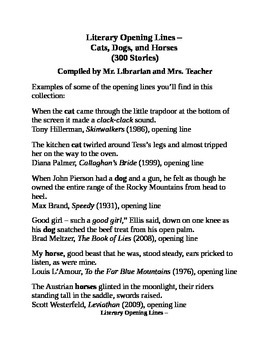Literary Opening Lines - Cats, Dogs, and Horses (300 stories)