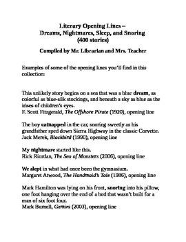 Literary Opening Lines – Dreams, Nightmares, Sleep, and Snoring (400 stories)