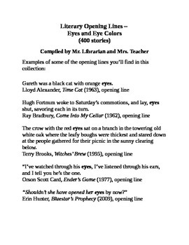 Literary Opening Lines – Eyes and Eye Colors (400 stories)
