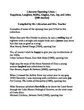 Literary Opening Lines - Happiness, Laughter, Smiles, Giggles, Fun (300 stories)