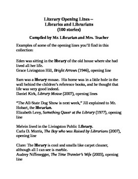 Literary Opening Lines – Libraries and Librarians (100 stories)