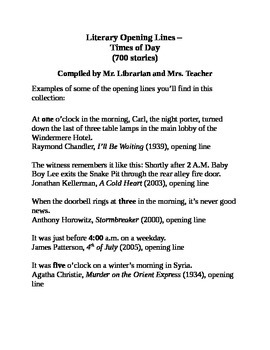 Literary Opening Lines – Times of Day (700 stories)