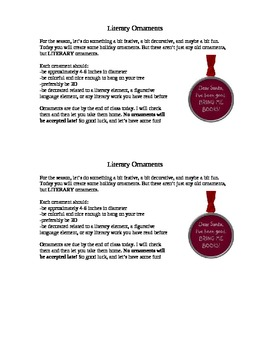 Literary Ornaments Holiday Mini-Project