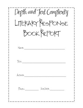 Literary Response Book Report Middle High School