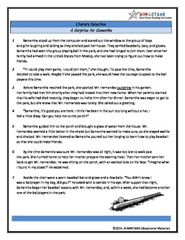 Literary Selection with Depth Guide and STAAR Questions