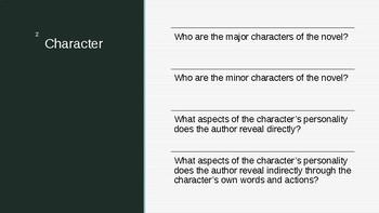 Literary Skills Review: The Novel