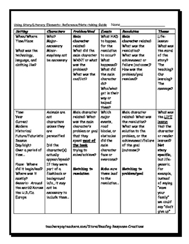 Literary Elements: Reference Page for Analyzing Story/Non-fiction Narrative