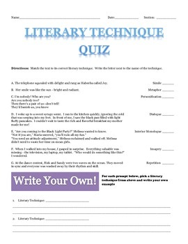 Literary Technique Quiz with Answer Key