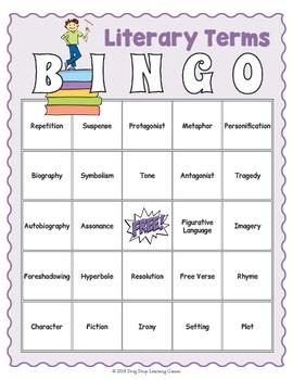 Literary Terms BINGO Game