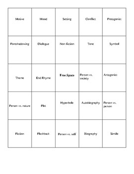 Literary Term Bingo Cards