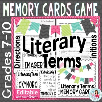 Literary Terminology Matching Memory Card Game - ELA Middle & High School