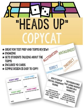 "Literary Terms Activity Game: ""Heads Up"" CopyCat"