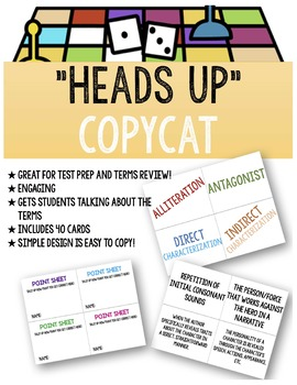 "Literary Terms Activity: ""Heads Up"" CopyCat"