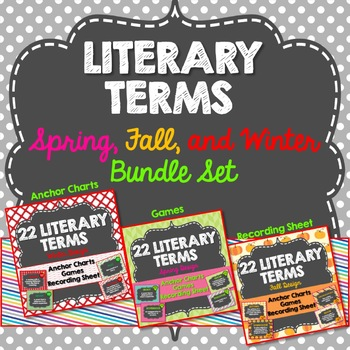 Literary Terms Anchor Charts, All Year, Spring, Fall, Winter Design, Activities