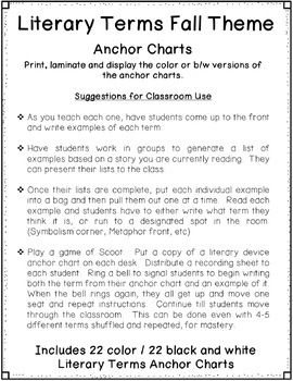 Literary Terms Anchor Charts, Fall Design, 22 Terms, Games and Activities