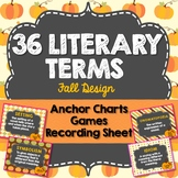 Literary Terms Anchor Charts, Fall Design, 36 Terms, Games and Activities
