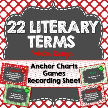 Literary Terms Anchor Charts, Winter Design, 22 Terms, Games and Activities