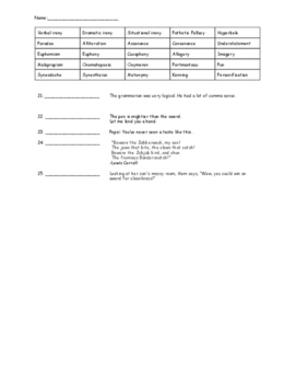 Literary Terms Assessment 2