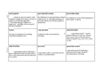 Literary Terms BINGO cards