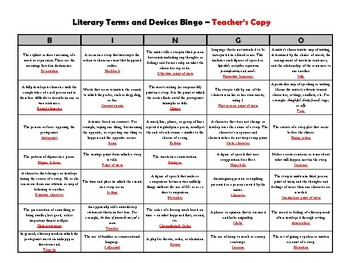 Literary Terms Bingo