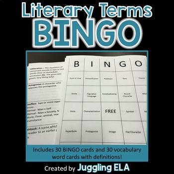 Literary Terms Bingo - 30 game cards