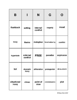 Literary Terms Bingo Review Game plus Objective Quiz