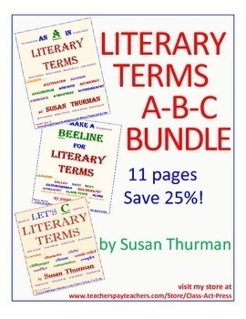 Literary Terms Bundle: A, B, and C (11 Pgs., Answer Keys, $6.75, Save 25%)