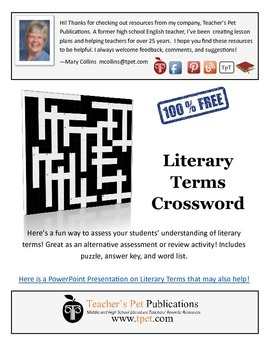 Literary Terms Crossword