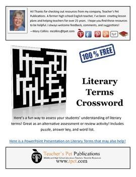 Literary Terms Crossword