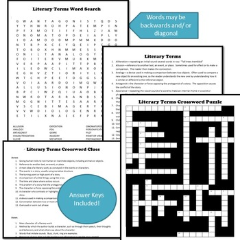 Literary Terms Crossword Puzzle and Word Search