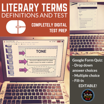 Literary Terms Definitions and Test (Google Slides and Google Forms/Quiz)