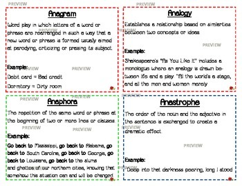 Literary Terms & Devices Flash Cards AP/Honors English