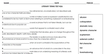 Literary Terms Test 2