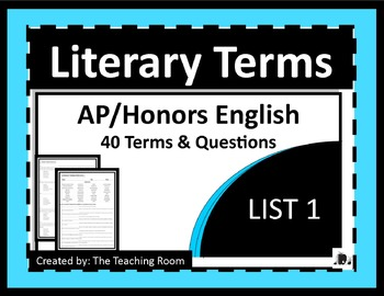 Literary Terms List 1 of 4 (AP & Honors English)