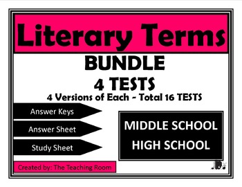 Literary Terms Tests 1-4 BUNDLE